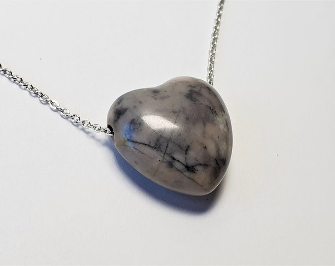 Marbled Gray Jasper Stone Heart on Sparkling Silver Plated Chain Says LOVE - Beautifully Polished and Rounded Stone Heart Pendant
