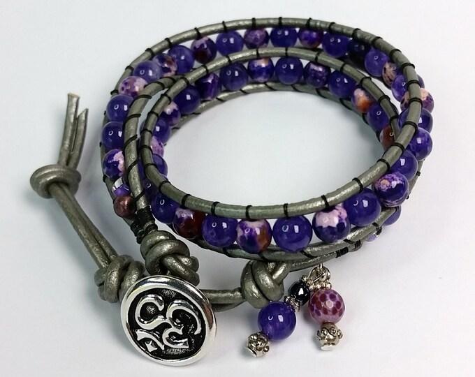 Adjustable Purple Agate Double Wrap Bracelet on Silver Leather Cord - Bracelet with Om Symbol Button Clasp - Adjustable Bracelet