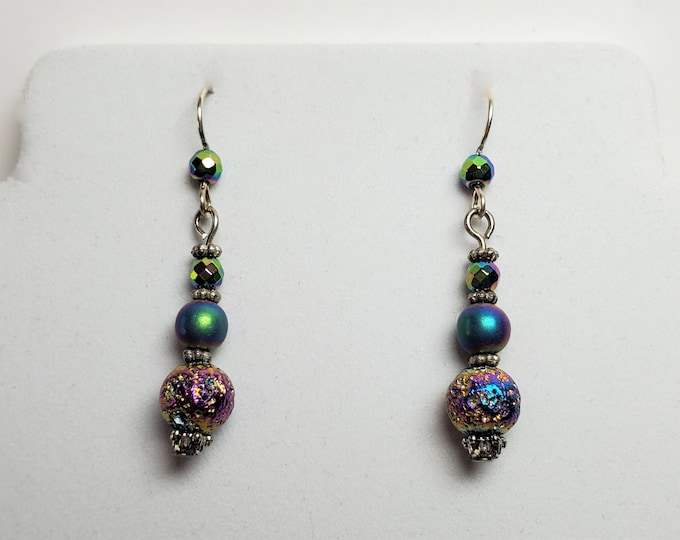 Purple/Teal Rainbow Titanium Coated Lava Earrings with Crystals and More - Dangle Earrings on Sterling Silver Ear Wires