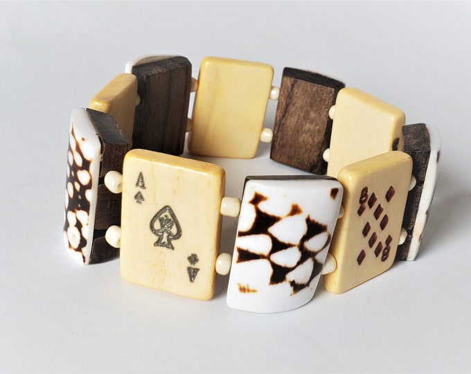 Lucky Ace of Spades & More Stretch Bracelet - Playing Card Bone Tile Bracelet Alternating with Shell Covered Coconut Tiles for Man/Woman