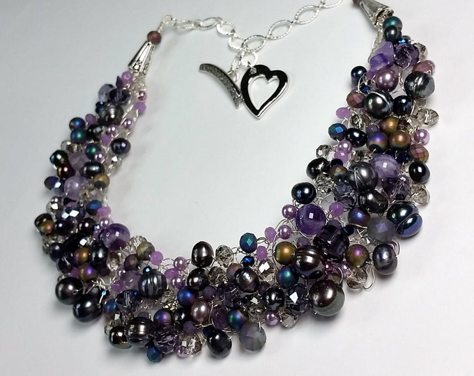Lustrous and Sparkling Purple Pearls, Crystals, and Amethyst Wire Crochet Collar Set - Purple Haze Wire Crocheted Necklace and Earrings Set