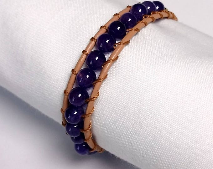 Amethyst - Leather Wrap Bracelet - Single Wrap - Cowhide Thong