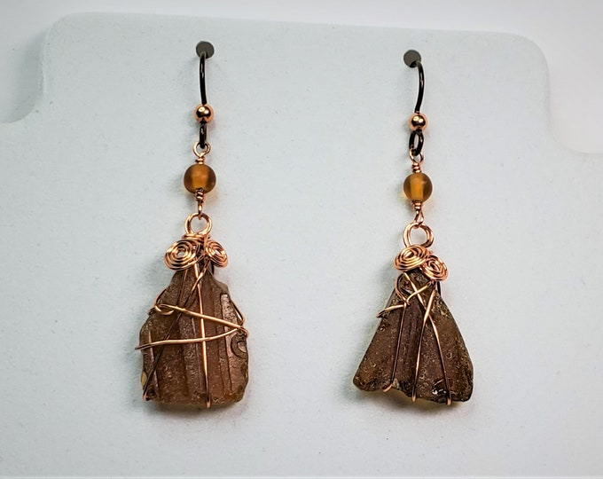 Amber Beer Bottle Beach Glass Earrings Dangle From Coppery Hypoallergenic Ear Wires - Triangle Shaped Sea Glass Wire Wrapped in Copper