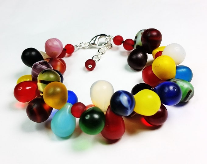 Bubbly, Art Glass Rainbow African Wedding Bead Bracelet with Extender Chain - Kaleidoscope of Color Glass Teardrops Bracelet