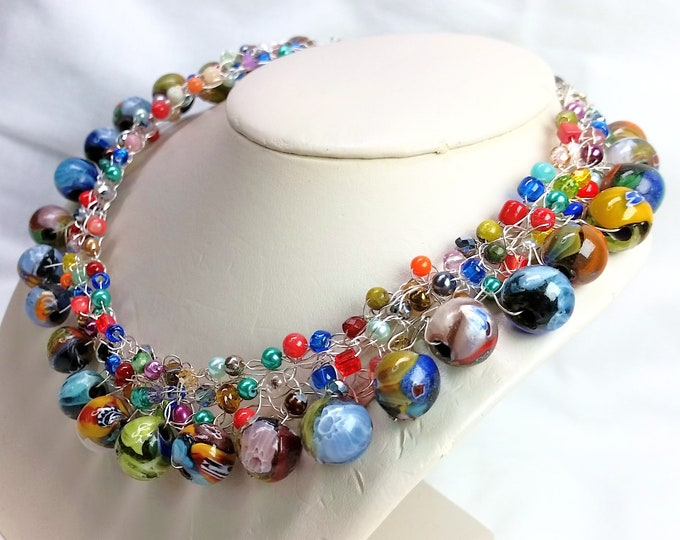 Wire Crocheted Collar Necklace with Millefiori Beads, Pearls, Coral, Crystals and More - Adjustable Length Wire Crocheted Necklace