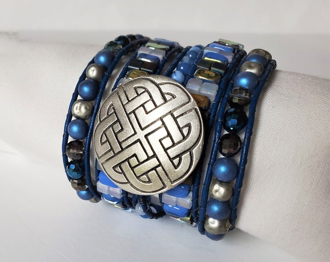 Periwinkle Blue and Silver Blue Leather Wrap Bracelet with Celtic Knot Button Focal, Adjustable Length