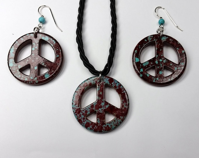 Retro Peace Sign Jewelry Set - Pendant and Earrings Set in Burgundy w/Turquoise Splashes - '60's Jewelry - Adjustable Length Jewelry Set