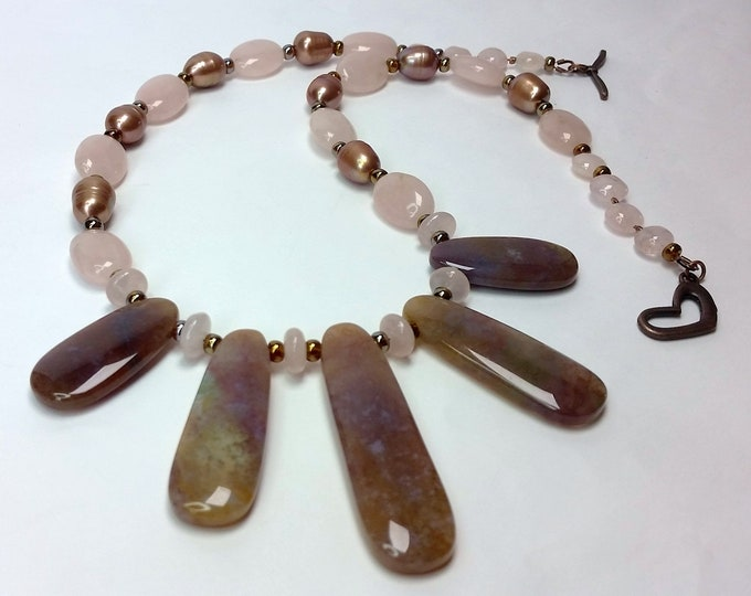 Fancy Jasper Fingers with Pink Rose Quartz, and Coppery Cultured Pearls - Natural Stone and Pearl Necklace with Pearl Earrings