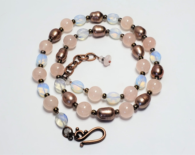 Pink Rose Quartz, Coppery Pearls & Opalescent Moonstones Adjustable Length Necklace - Lovely Pink Lustrous Natural Elements Necklace