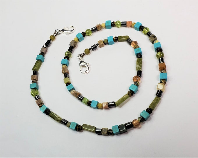 Turquoise, Peridot and Jasper Beaded Face Mask Leash Can be Worn as Necklace - Convertible Lanyard/Necklace
