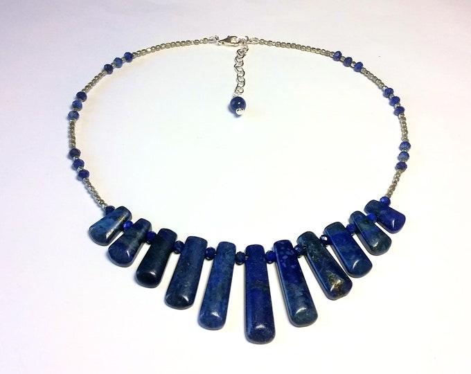 Lush Lapis Lazuli Necklace - Blue Lapis Multi-Focal Adjustable Length Necklace - Graduated Length Focal - 11 Lovely Lapis Fingers Necklace