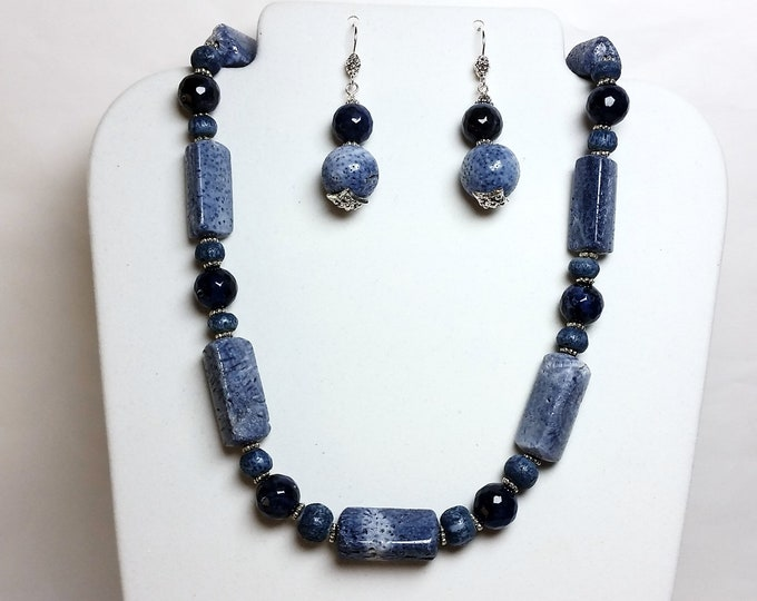 Rare Blue Coral and Lapis Necklace and Earrings Set - Serene Skies Blue Necklace and Earrings - Treasures of Land and Sea Jewelry