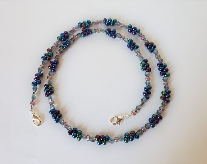 Beaded Face Mask Leash Converts to Necklace - Purple Teardrop Beads and Blue Glass Beaded Face Mask Lanyard or Necklace