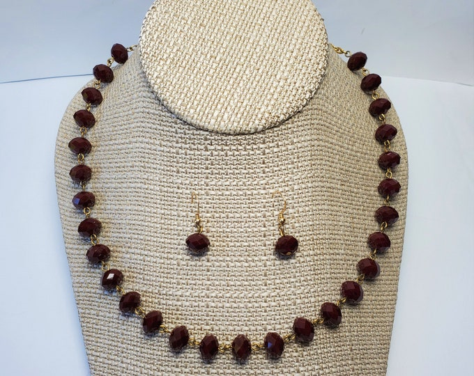 Rich Sparkling Maroon Crystal Necklace with Antique Gold Plated Trim and Matching Dangle Crystal Earrings on Gold Fill Ear Wires