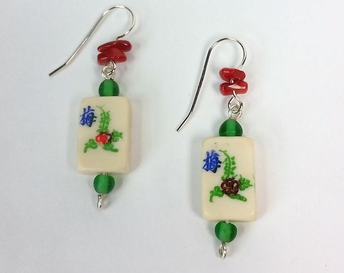 Mahjong Earrings - Tiny Mahjong Flower Tile Earring With Red Coral Chips - Rectangular White Bone Mahjong Tile Earrings