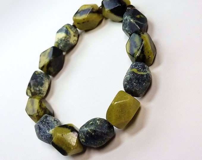 Faceted Natural Serpentine Nugget Stretch Bracelet - Chartreuse, Black and Gray Stretch Bracelet