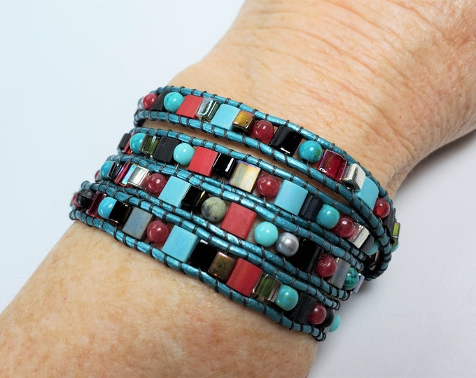 Quadruple Wrap Bracelet Supple Aqua Leather Bracelet with Turquoise, Red Jade, and Glass Beads - Red, Aqua, Silver and Black Wrap Bracelet