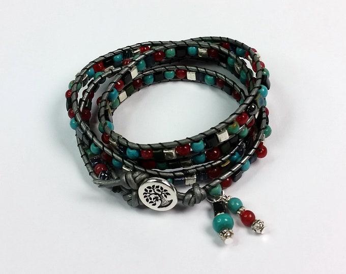 Leather Quadruple Wrap Bracelet w Turquoise, Red, Black, and Silver - Turquoise Bracelet - Round and Cube Bead Wrap Bracelet
