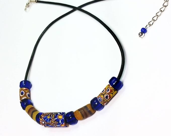 Trade Beads - Choker Necklace - Leather Cord Necklace - Adjustable Necklace - Millefiori Beads - Unisex Jewelry