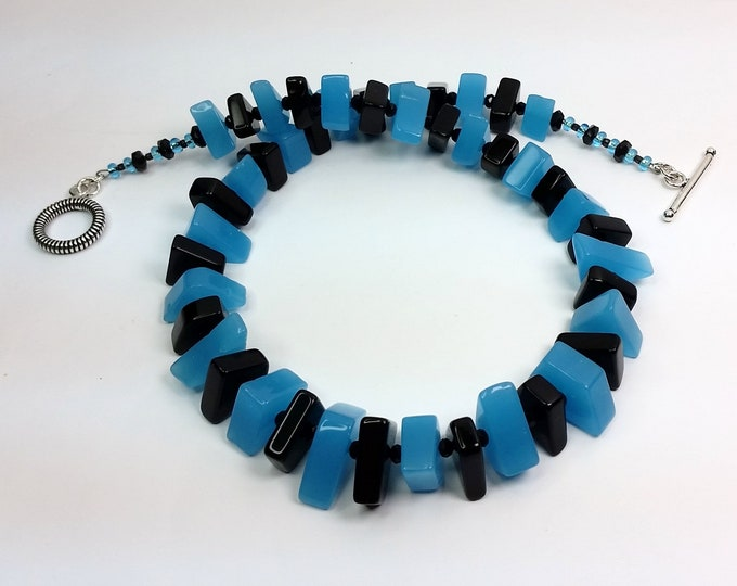Art Glass Angular Beads Necklace, Teal and Black Color Pop Necklace