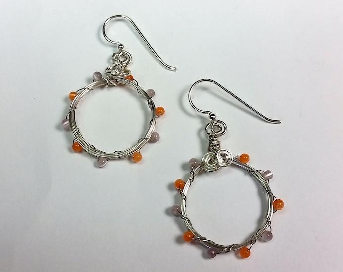 Small Silvery Hoop Earrings with Mauve and Orange Cat's Eye Beads - Nickel Size Hoop Earrings - Handmade Hoop Earrings