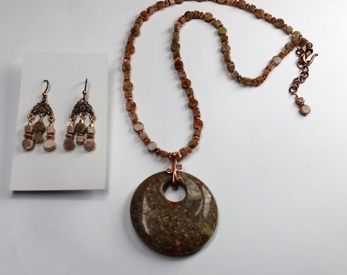 Autumn Jasper Large Coin Shaped Pendant Necklace Set with Chandelier Earrings, Copper Trim - Adjustable Length Necklace Set