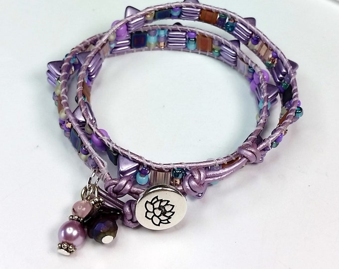 Who Spiked the Bracelet Lilac Leather Double Wrap - Mauve Fusion Wrap Bracelet - Wrap Bracelet with Two Holed Beads