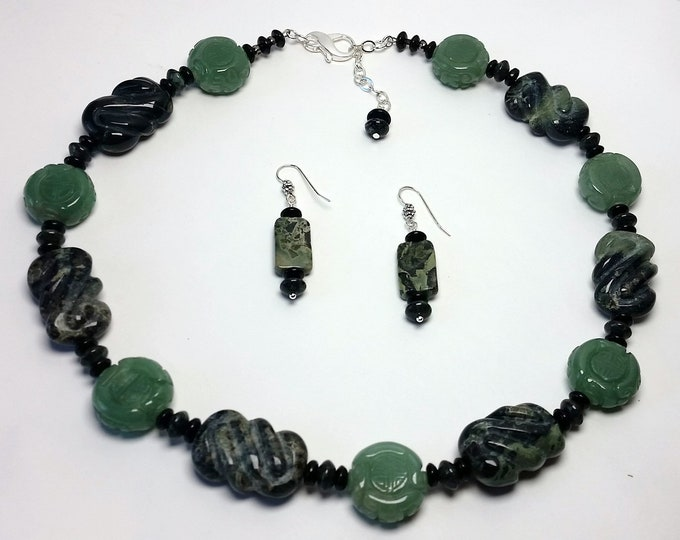 Kambaba Jasper with Aventurine and Onyx Necklace and Earrings - Green & Black Fossilized Algae Jasper w Asian Motif Carved Green Aventurine
