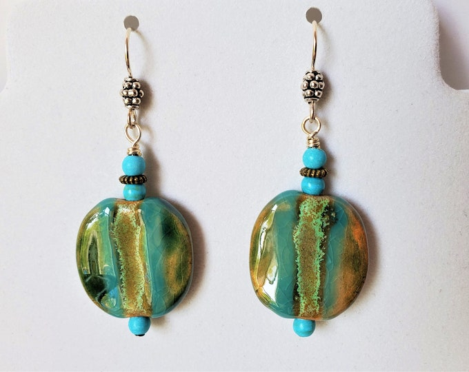 Kazuri Bead Earrings with Aqua Stripes - Pretty Kenyan Ceramic Dangle Earrings - Rounded Flat Square Shape Earrings with Turquoise Trim