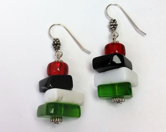 Red, Green, Black and White Stacked Glass Earrings - Colorful Bright Freeform Shaped Glass Earrings - Mish Mash Shaped Glass Earrings