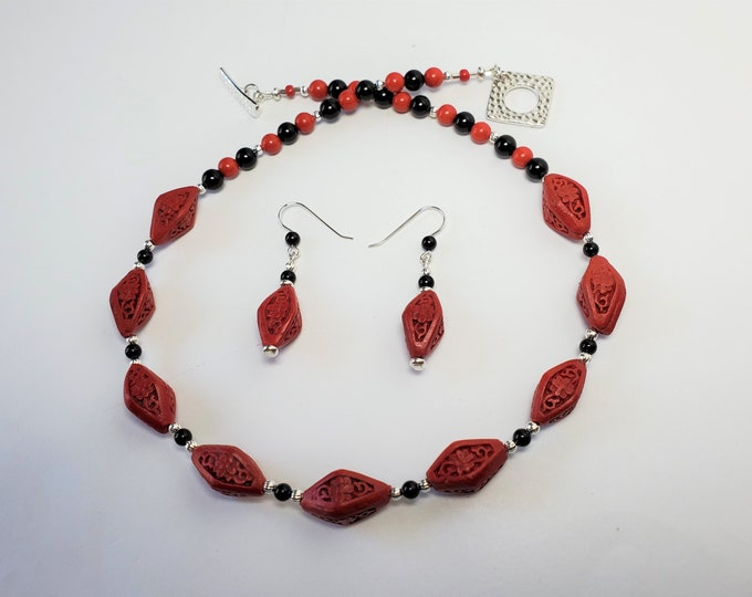 Red Cinnabar, Unusual Diamond Shaped Beads Necklace Set - Carved Red Cinnabar w Round Black Onyx Beads Necklace and Earrings Set