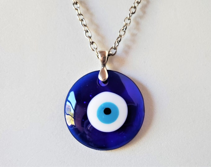 "Protective Blue ""Evil Eye"" Glass Talisman Amulet - Brilliant Cobalt  Blue Pendant on Silvery Chain with Adjustable Length"