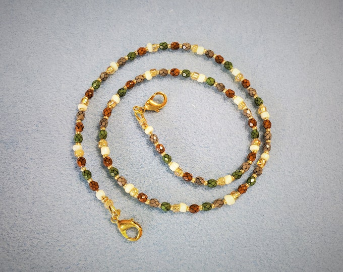 Beaded Face Mask Leash Converts to Necklace - Autumn Toned Beaded Lanyard or Necklace