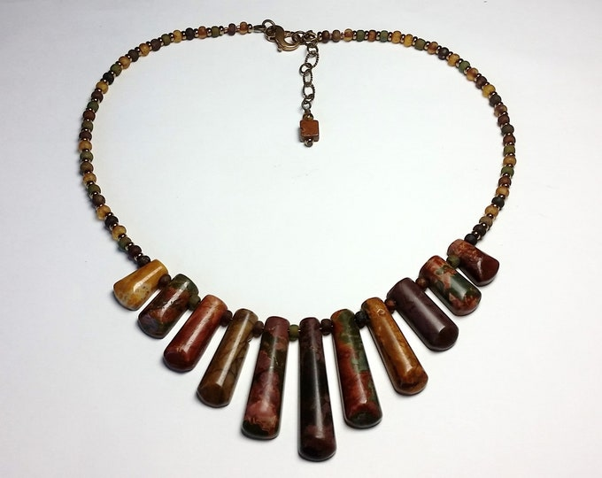 Mookaite Australian Jasper Necklace - Autumn Browns, Rusts & Golds in a Multi Focal Necklace - Adjustable Length Fall Color Necklace