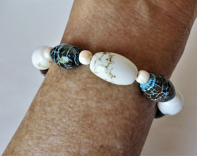 Aqua and White Stretch Bracelet with Barrel Shaped Agate and Glass Beads - Easy Going Stretch Bracelet