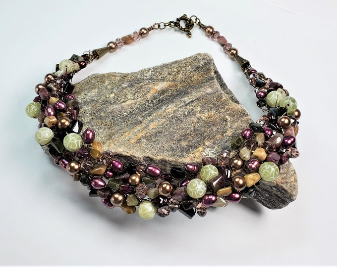 Tourmaline, Jade, Garnet & Pearl Wire Crochet Necklace Set in Winter Hues of Magenta, Pine Forest Green, Gold, Black and Tan