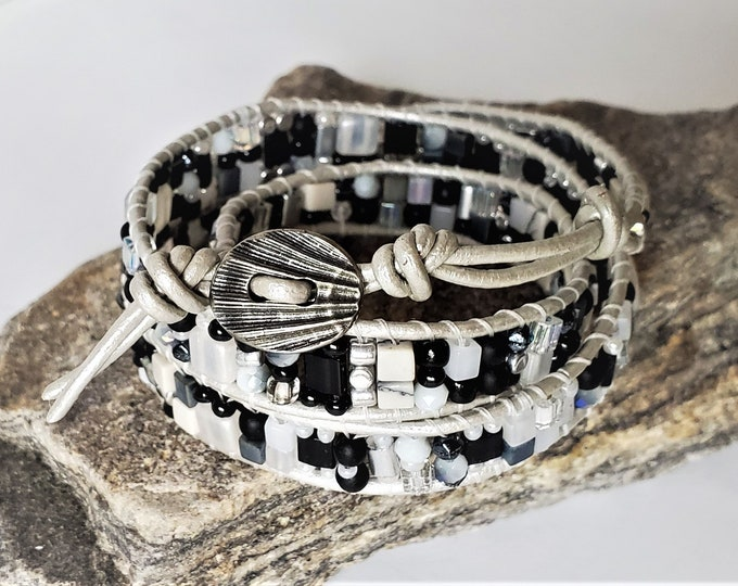 Silver Leather, Black and White Beaded Triple Wrap Bracelet with Metal Scallop Shell Button Clasp and 2 Button Loops for Adjustable Length