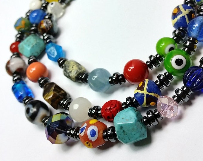 Rainbow Triple Strand Necklace with Stones, Crystals, Glass and Hematite - Colorful Multi Strand Necklace