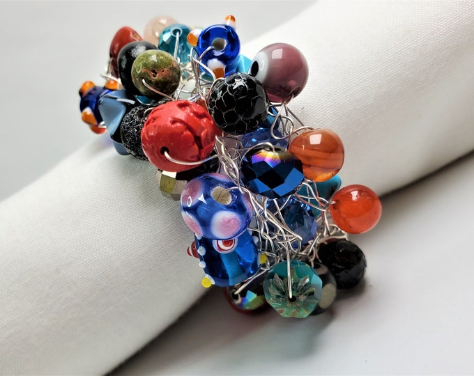 Rainbow of Colors Wire Crocheted Bracelet - Color Splash Bracelet with Silvery Adjustable Length Extender Chain
