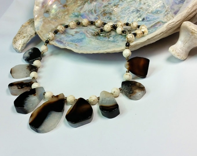 Botswana Agate Teardrops Necklace Set - Black and White Jewelry - Agate Jewelry