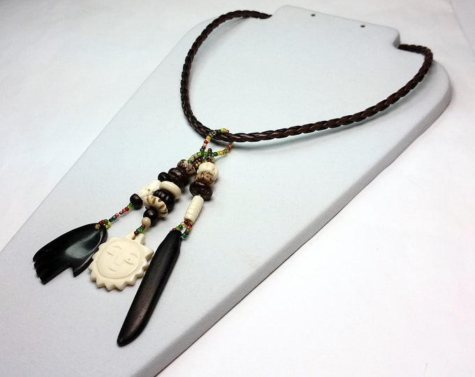 Black, Brown and Bone on Faux Leather Braided Choker -Long Dangle Pendants on Choker - Earthy Brown & Bone Bead and Charm Necklace