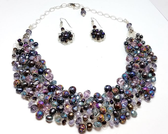 Purple and Pastel Pearl and Crystal Wire Crocheted Necklace Collar and Earrings with Titanium Coated Lava Beads - Luster & Bling Jewelry
