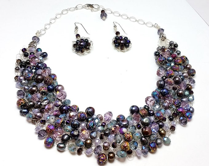 Celestial Purples and Pastels  Pearl and Crystal Wire Crocheted Collar and Earrings with Titanium Coated Lava Beads - Luster & Bling Jewelry