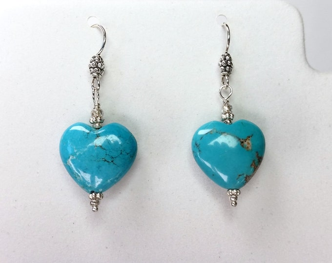 Turquoise Heart Earrings on Sterling Silver Ear Wires - Stone of Healing Shape of Love Turquoise Heart Earrings
