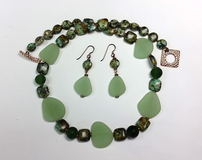 Sea Foam Lime Green Beach Glass with Variegated Variscite Stone Beads Necklace and Earrings - Sea Glass Necklace Set with Earrings