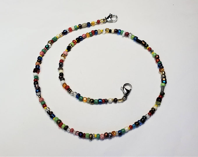 Joyful Beaded Face Mask Leash Converts to Multi Color Necklace - Rainbow Colors Beaded Face Mask Lanyard Converts to Colorful Jewelry