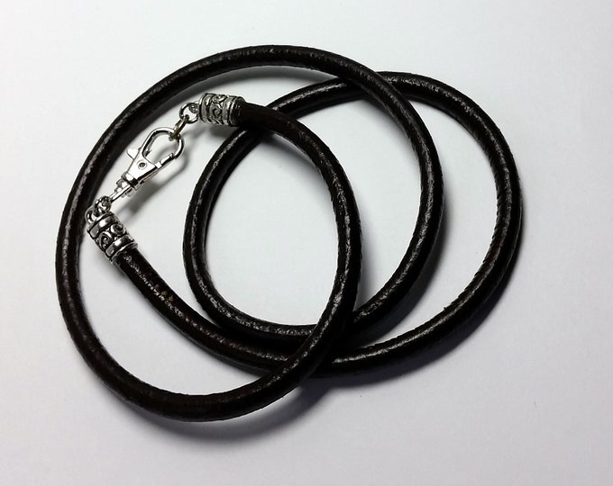 Stylish Thick Dark Brown Round Leather Triple or More Wrap Bracelet for Men or Women with Swivel Lobster Clasp