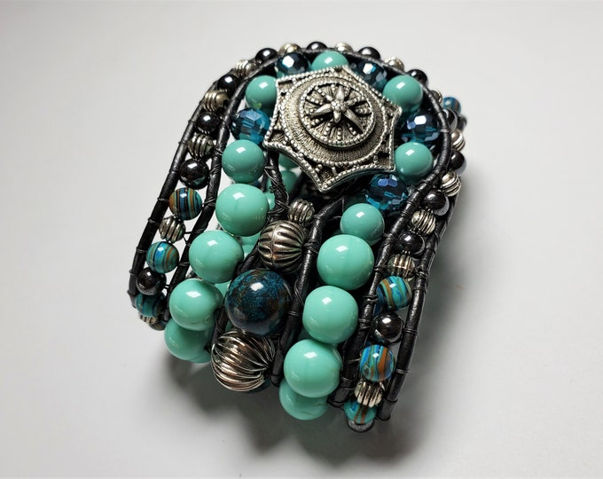 Extra Wide Aqua Beaded Leather Cuff Bracelet with Star Button Clasp