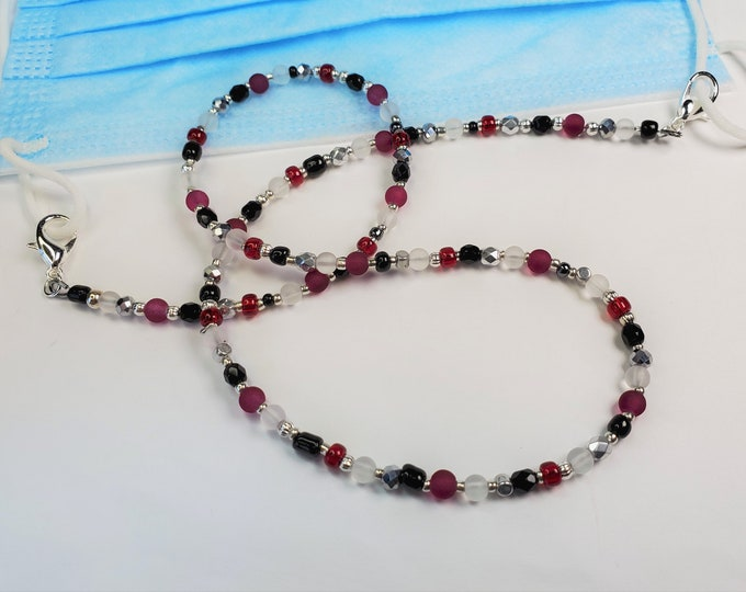 Facemask Leash/Lanyard with Red, Black, Silver and White Beads and Crystals Converts to Necklace or Triple Wrap Bracelet