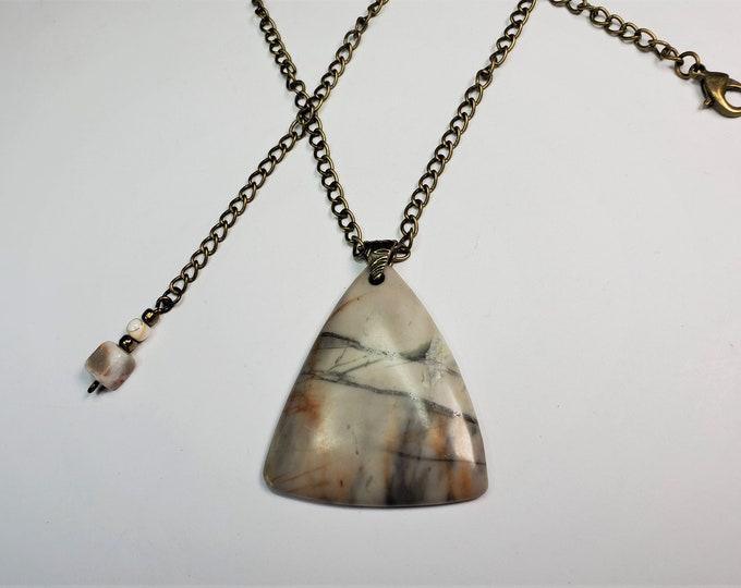 Triangular Picasso Picture Jasper Pendant on Antique Brass Chain - Stone that Looks Like Brush Painting- Adjustable Length up to 24 Inches